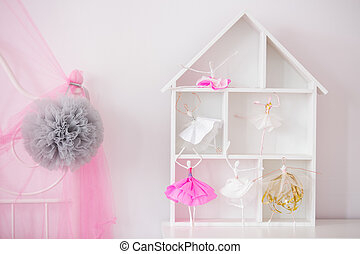 Wood house shelf for child room and pink canopy