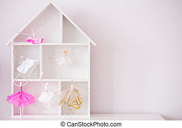 Decorative wood house shelf - Pink room with decorative wood...