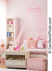 Girls bedroom with canopy bed - Pink girls bedroom with...