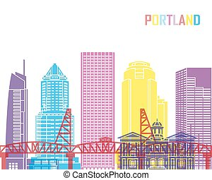Portland V2 skyline pop in editable vector file