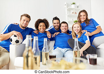 friends or football fans with beer at home - friendship,...