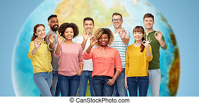 international group of happy people showing ok - diversity,...