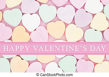Old fashion Valentine's greeting, Retro heart shaped candy...
