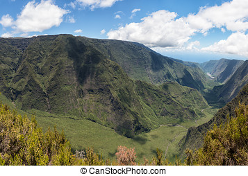 "lookout on reunion island mountains cirque called ""belvedere..."