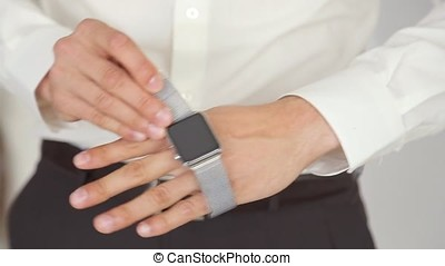 Man's Hand With Apple Watch.