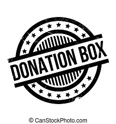 Donation Box rubber stamp. Grunge design with dust...