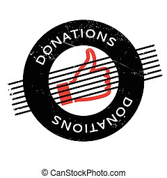 Donations rubber stamp. Grunge design with dust scratches....