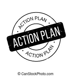 Action Plan rubber stamp. Grunge design with dust scratches....