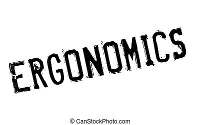 Ergonomics rubber stamp. Grunge design with dust scratches....