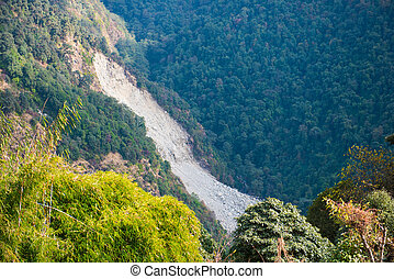 landslide on the mountain in Nepal , nature