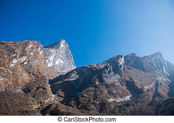 the high mountain in Annapurna sanctury , Nepal