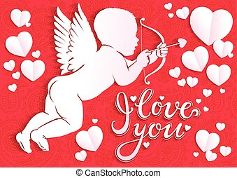White paper angel with bow and arrow and the words I love...