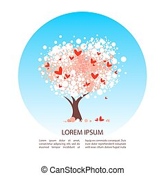 valentines day-01 - Cherry blossom tree isolated on white...