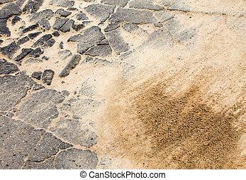 the destroyed asphalt