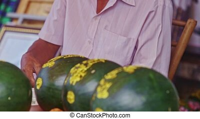 Closeup Man Gives Change to Customer at Watermelon - NHA...