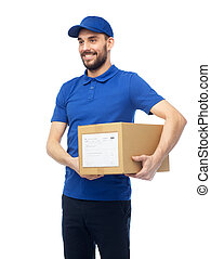 happy delivery man with parcel box