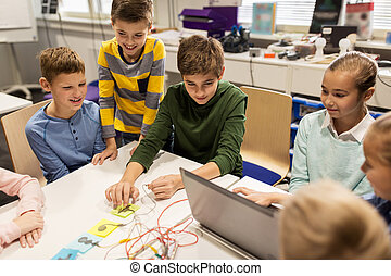 kids, laptop and invention kit at robotics school -...