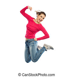smiling young woman jumping in air - happiness, freedom,...