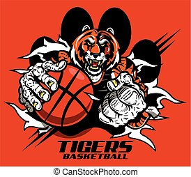 tigers basketball player ripping through paw print for...