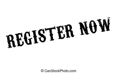 Register Now rubber stamp. Grunge design with dust...