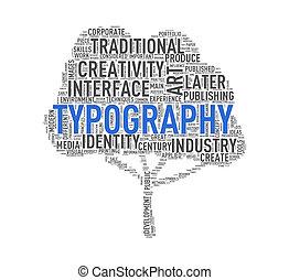 Tree shape wordcloud typography