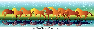 Vector background with orange horses running gallop on the...