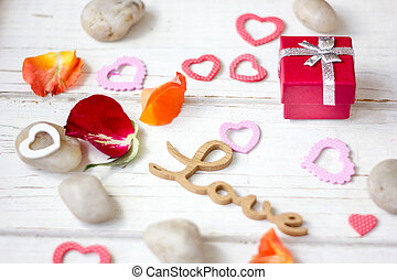 Valentine's day gift with hearts.