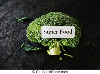 Super Food Concept - Broccoli with a Super Food label