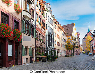 Old town of Nuremberg, Germany - Historic street in old town...