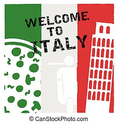 italy welcome in color icon design illustration