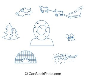 the Eskimo blue - set of icons in the style of a flat design...