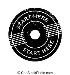 Start Here rubber stamp. Grunge design with dust scratches....