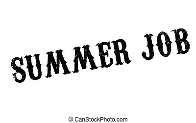 Summer Job rubber stamp. Grunge design with dust scratches....