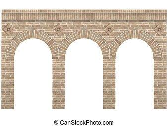 Vintage arcade brick - Vintage arcade of the masonry. Wall...