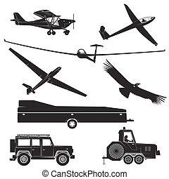 Set of vintage gliding elements. - Set of vintage gliding...