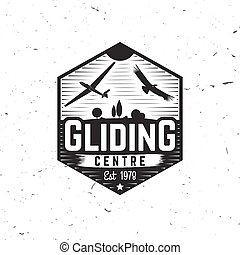Vector Gliding club retro badge. - Gliding centre retro...