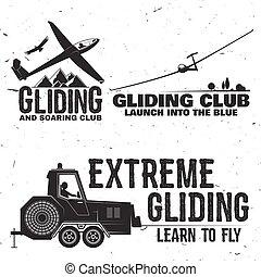 Set of Gliding club retro badge. Concept for shirt, print,...