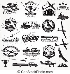 Soaring club retro badges and design elements. Vector...