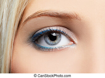 eye-zone make-up - close-up portrait of beautiful girls...