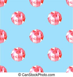 seamless pattern of realistic red ruby gems. Vector illustration.