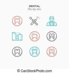 Dentist line color icons set