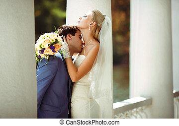 Moment of joy of the two in love in the wedding day
