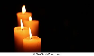 four candles lit and extinguished - Four candles lit and...