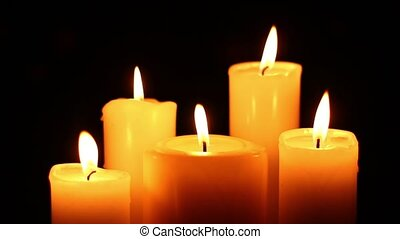 five candles lit and extinguished - Five candles lit and...