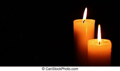 two candles lit and extinguished - Two candles lit and...