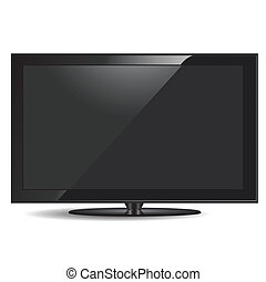 television set - illustration, modern black television set...