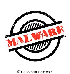 Malware rubber stamp. Grunge design with dust scratches....