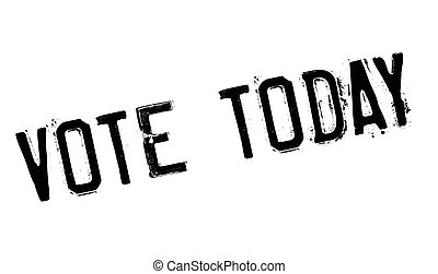 Vote Today rubber stamp. Grunge design with dust scratches....