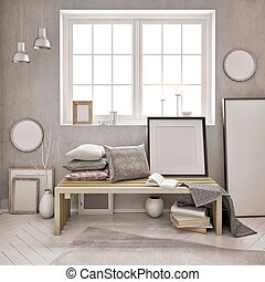 3d illustration, interior with a large number of frames