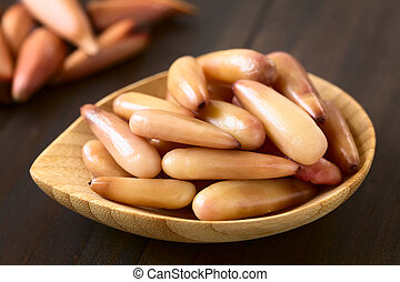 Peeled Cooked Pine Nuts of the Chilean Pine Tree - Peeled...